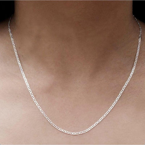 Unisex Solid Sterling Silver Mariner Link Chain Necklace-16''-