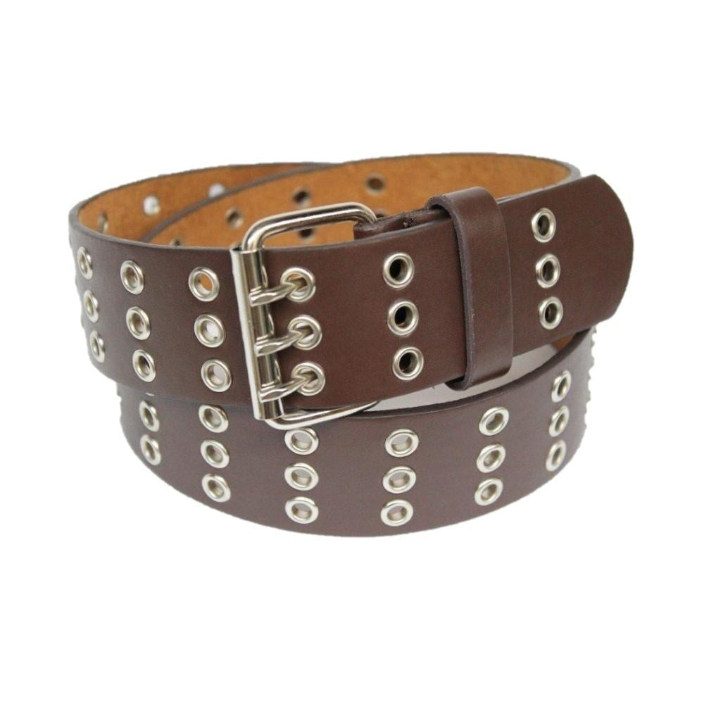 Daily Steals-Unisex, Triple Hole Grommets Leather Belt, with Shiny Buckle-Accessories-Brown-L-