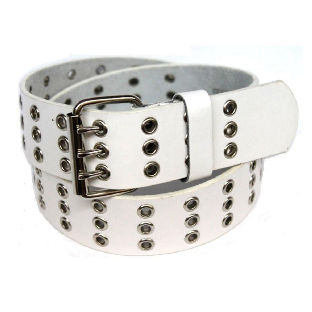 Daily Steals-Unisex, Triple Hole Grommets Leather Belt, with Shiny Buckle-Accessories-White-M-