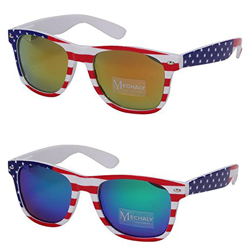 Daily Steals-Unisex USA Flag Blue and Yellow Rectangle Style Sunglasses - 2 Pairs-Accessories-