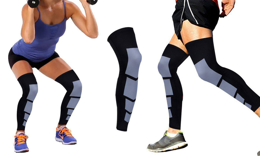 Unisex Full-Length Knee and Calf Compression Sleeves - 2 Pack-Black-S/M-Daily Steals