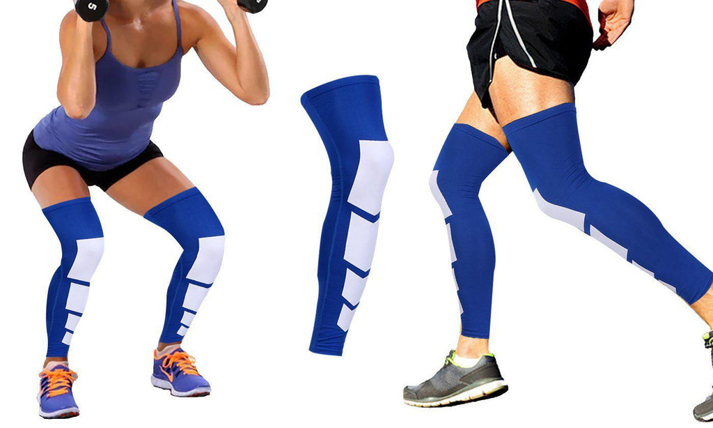 Daily Steals-Unisex Full-Length Knee and Calf Compression Sleeves - 2 Pack-Accessories-Blue-S/M-