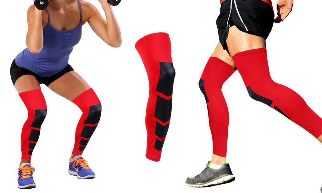 Daily Steals-Unisex Full-Length Knee and Calf Compression Sleeves - 2 Pack-Accessories-Red-S/M-