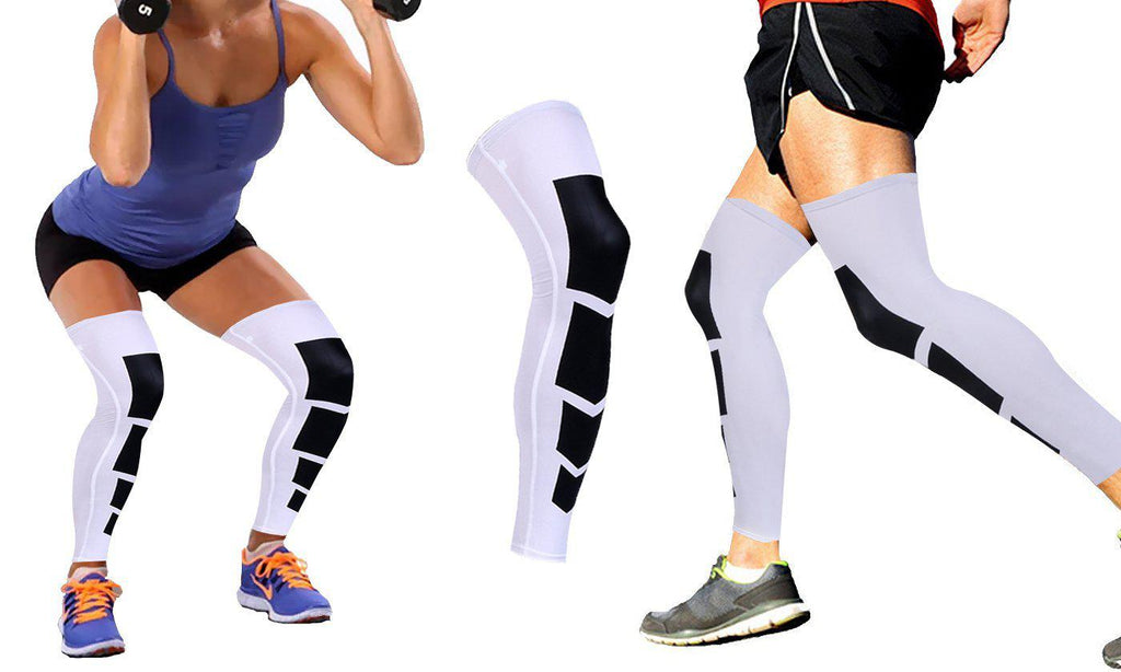 Daily Steals-Unisex Full-Length Knee and Calf Compression Sleeves - 2 Pack-Accessories-White-S/M-
