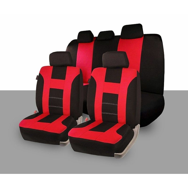 Universal Full Set Car Seat Covers Racing Style-Red/Black-Daily Steals