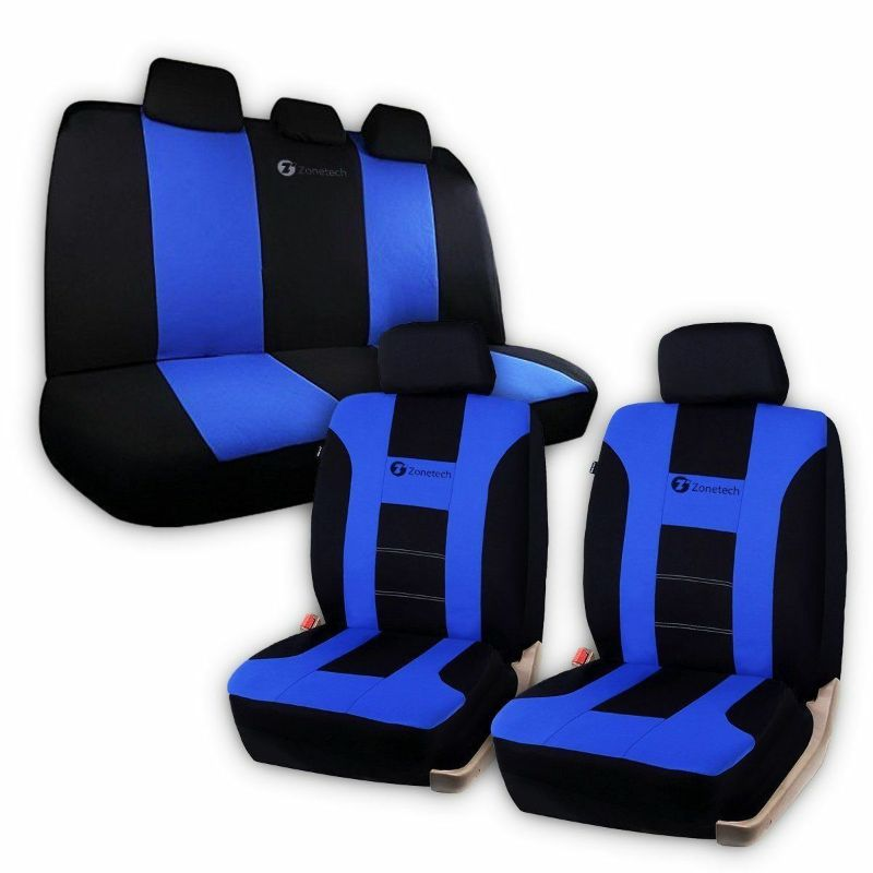 Universal Full Set Car Seat Covers Racing Style-Blue/Black-Daily Steals