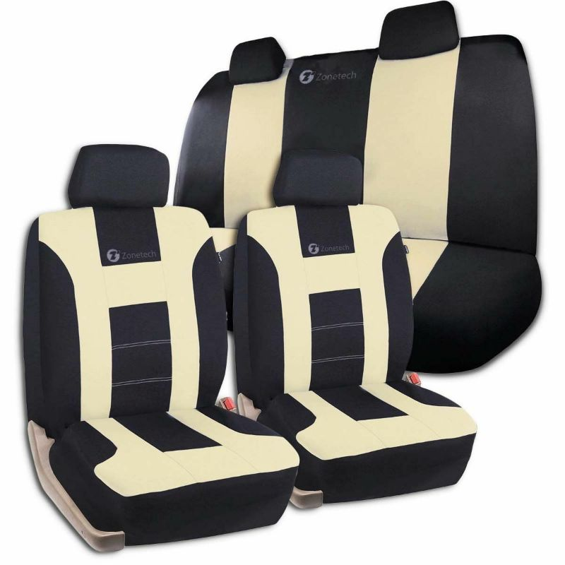 Universal Full Set Car Seat Covers Racing Style-Beige/Black-Daily Steals