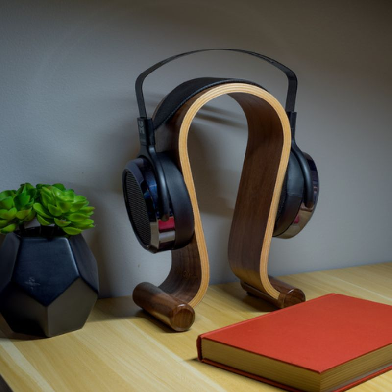 Wood Headphone Display Stand Secure Tabletop Holder or Gaming Headset Hanger