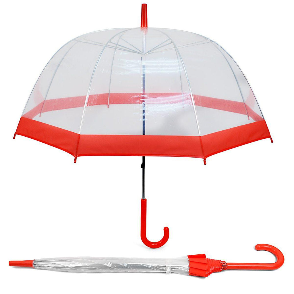 See-Thru-Bubble Wind-Resistant Premium Clear Umbrella with Color Border-Fuschia-Daily Steals
