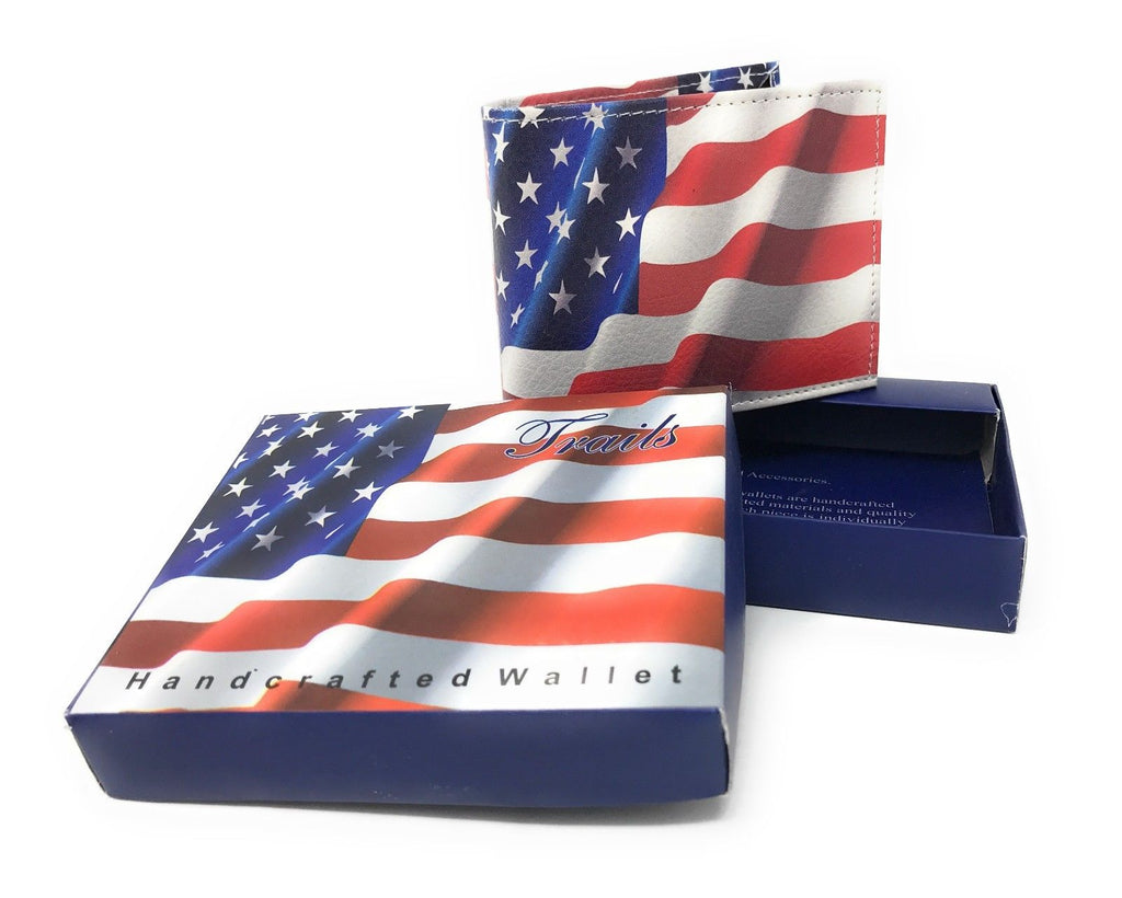 Bifold Wallets With Printed Designs - Comes in Gift Box-USA FLAG-Daily Steals