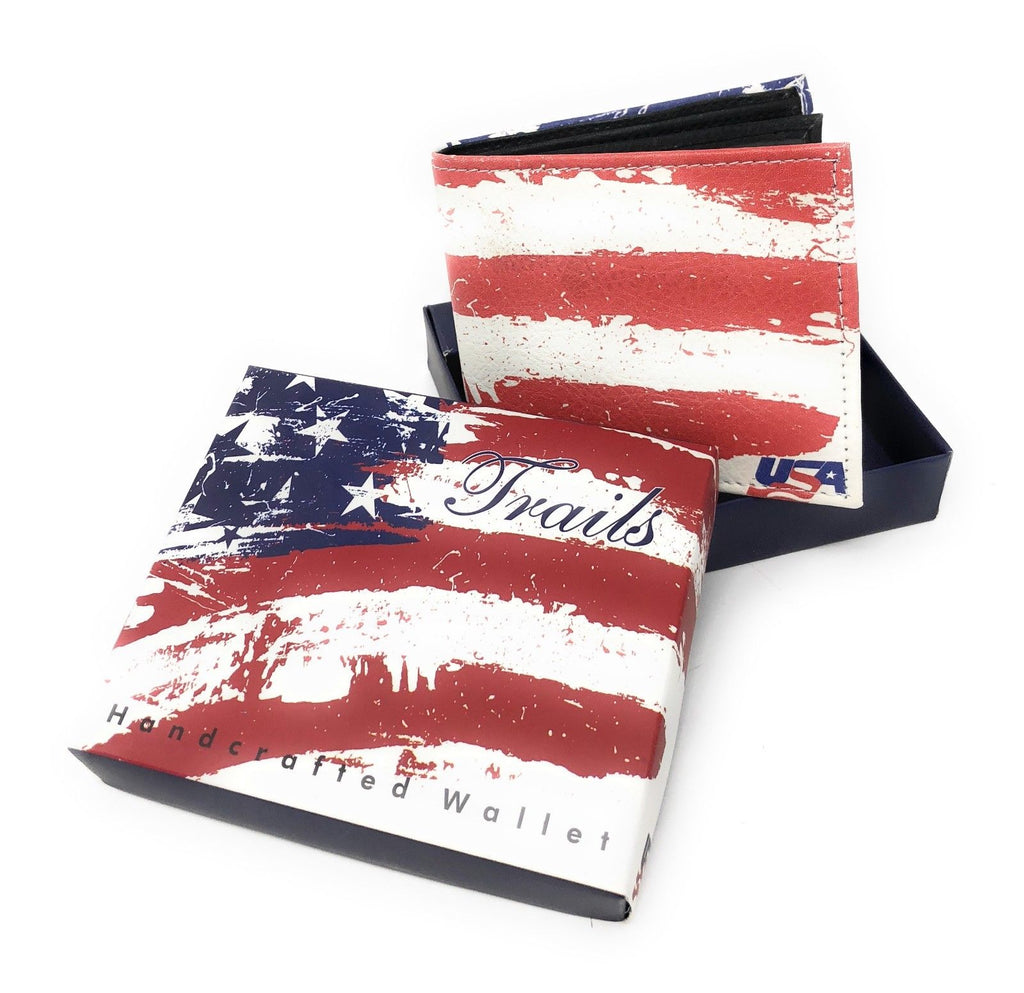 Bifold Wallets With Printed Designs - Comes in Gift Box-USA STARS STRIPES FLAG-Daily Steals