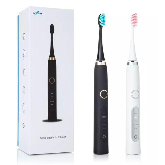 USB Electric Toothbrush with 9 Replacement Heads-Black-