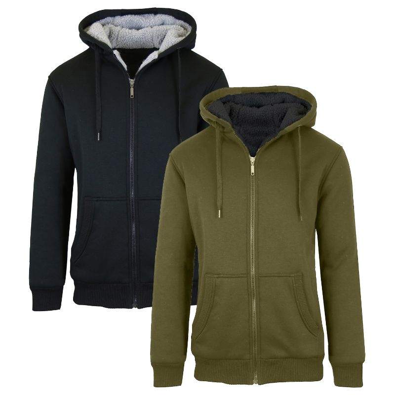 Men's Heavyweight Sherpa Fleece-Lined Zip Hoodie - 2 Pack-Black & Olive-M-Daily Steals