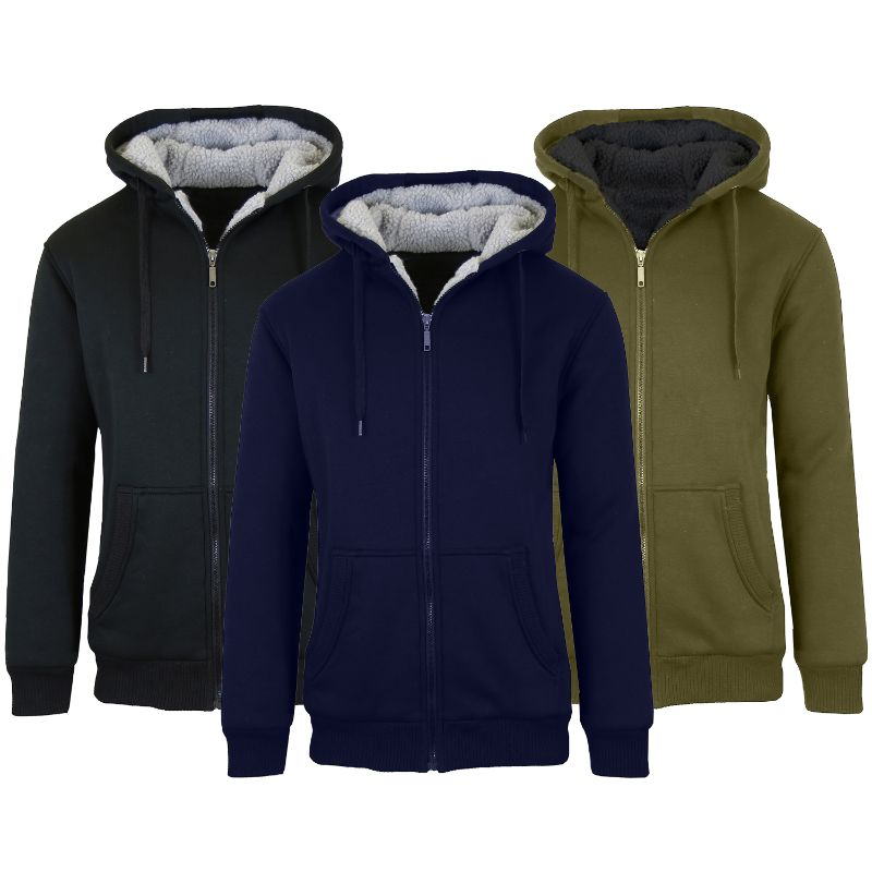 Men's Heavyweight Sherpa Fleece-Lined Zip Hoodie - 2 Pack-Daily Steals