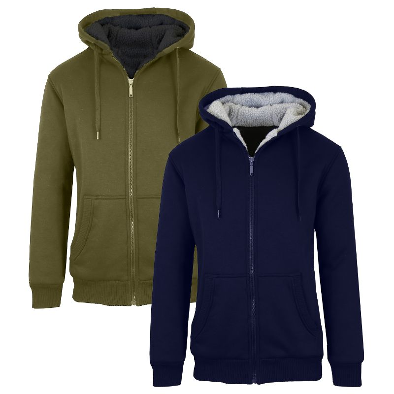 Men's Heavyweight Sherpa Fleece-Lined Zip Hoodie - 2 Pack-Navy & Olive-L-Daily Steals