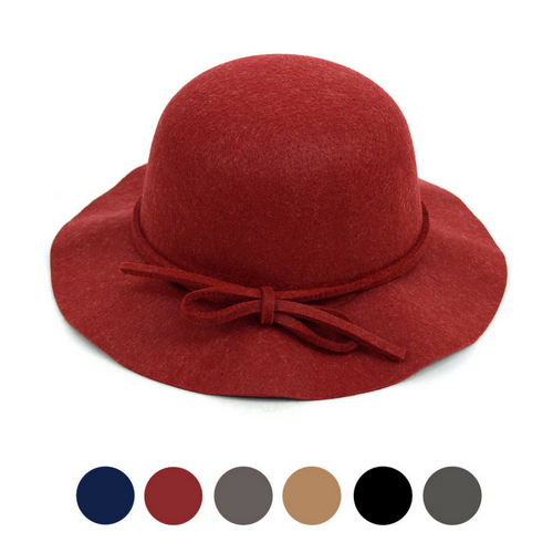 988188605333b Women s Felt Floppy Short Brim Bowknot Hat - 6 Colors Available