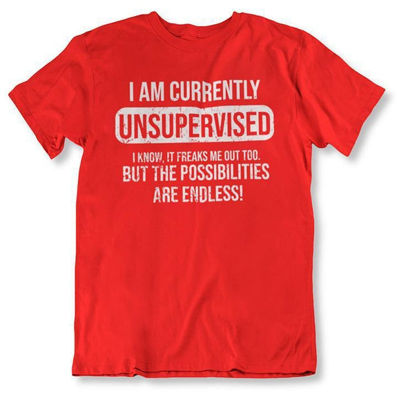I Am Currently Unsupervised, Possibilities are Endless Funny T Shirt-Red-2XL-Daily Steals