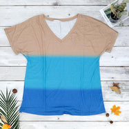 V-Neck Striped T-Shirt-Blue-M-