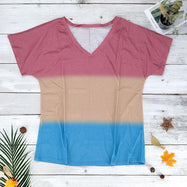 V-Neck Striped T-Shirt-Pink-S-