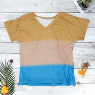 V-Neck Striped T-Shirt-Yellow-M-