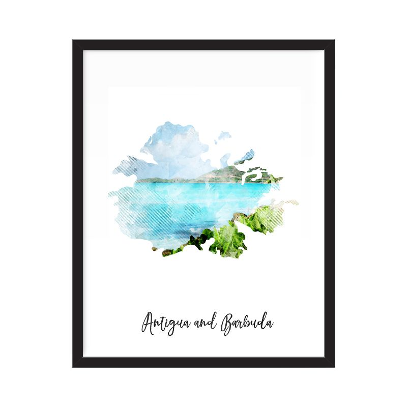 Antigua and Barbuda Watercolor Map Print - Unframed Art Print-Daily Steals