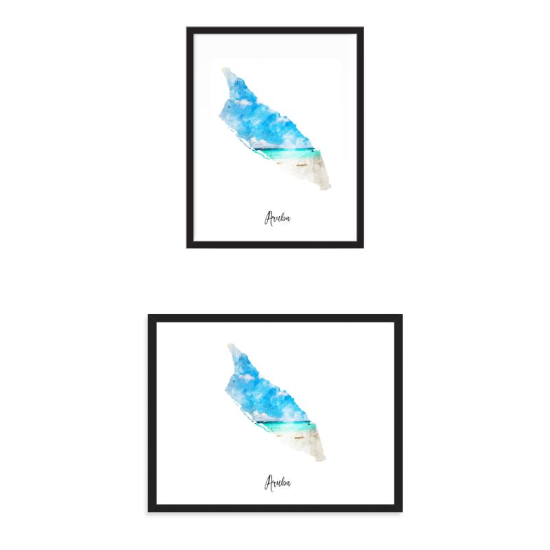 Aruba Watercolor Map Print - Unframed Art Print-Daily Steals