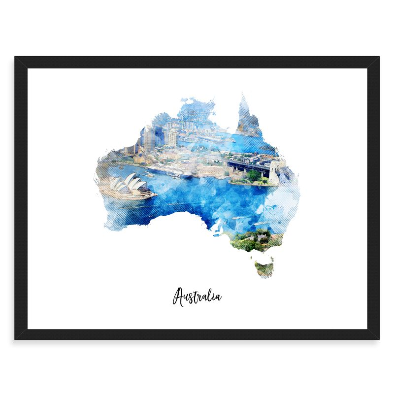 Australia Watercolor Map Print - Unframed Art Print-Daily Steals