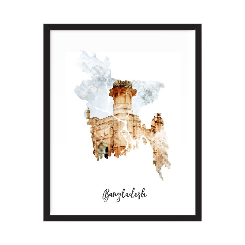 Bangladesh Watercolor Map Print - Unframed Art Print