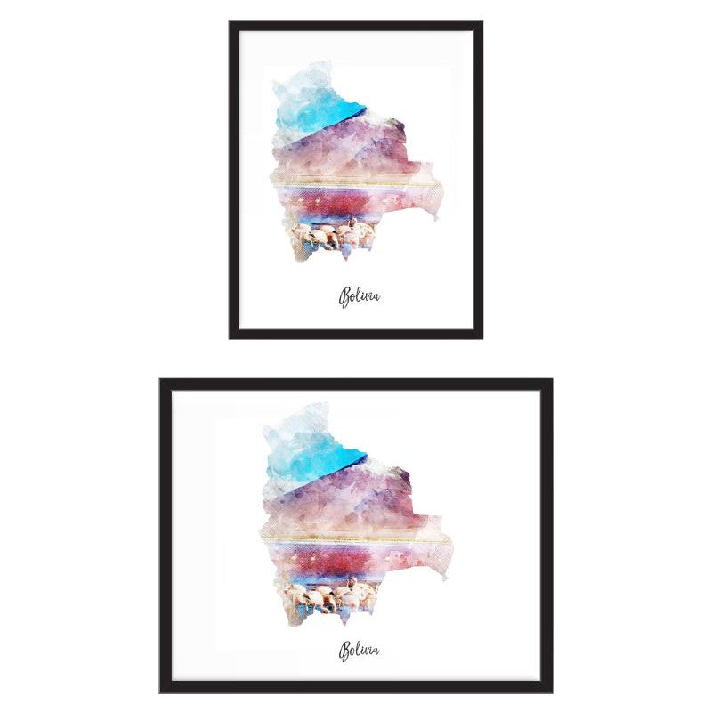 Bolivia Watercolor Map Print - Unframed Art Print-Daily Steals