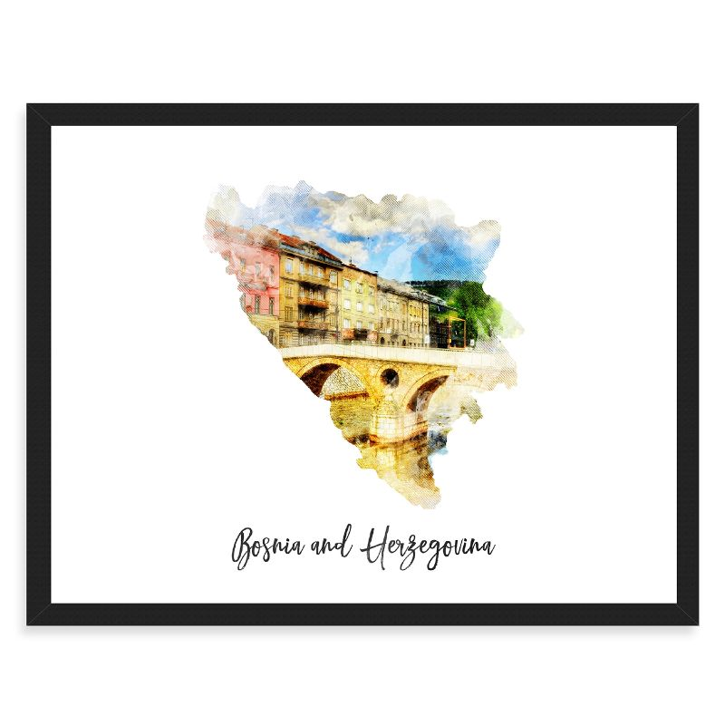 Bosnia and Herzegovina Watercolor Map Print - Unframed Art Print-Daily Steals