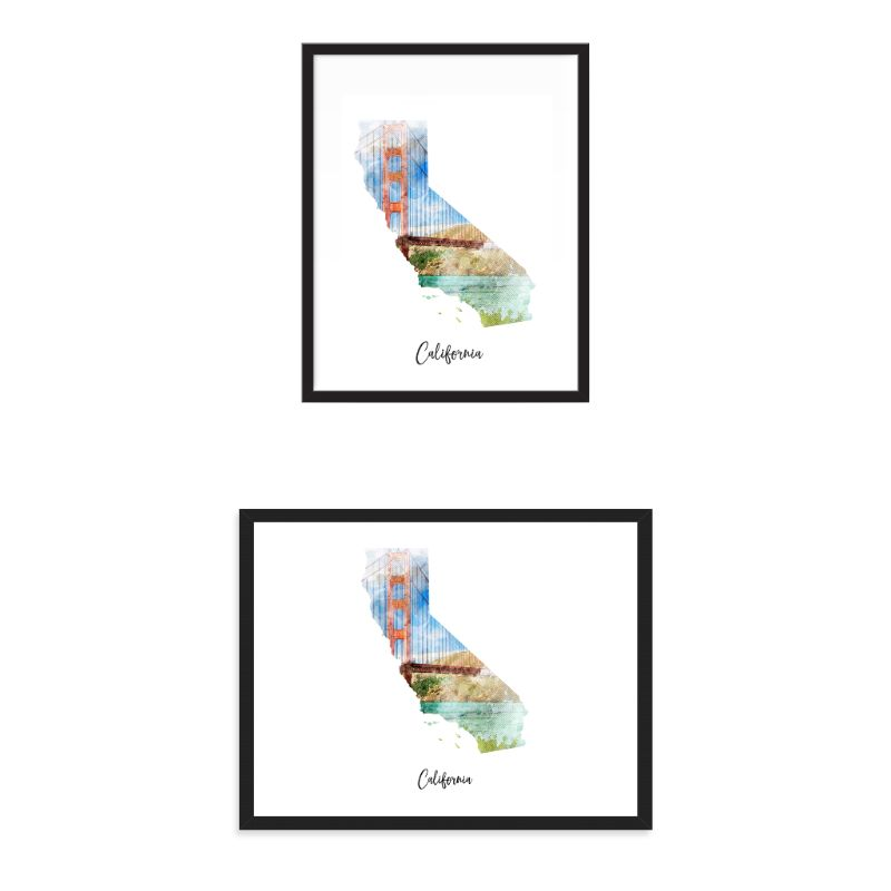 California Bridge Watercolor Map Print - Unframed Art Print-Daily Steals
