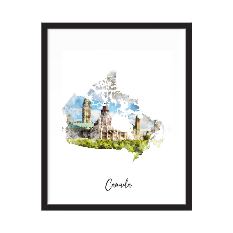 Canada Watercolor Map Print - Unframed Art Print-Daily Steals