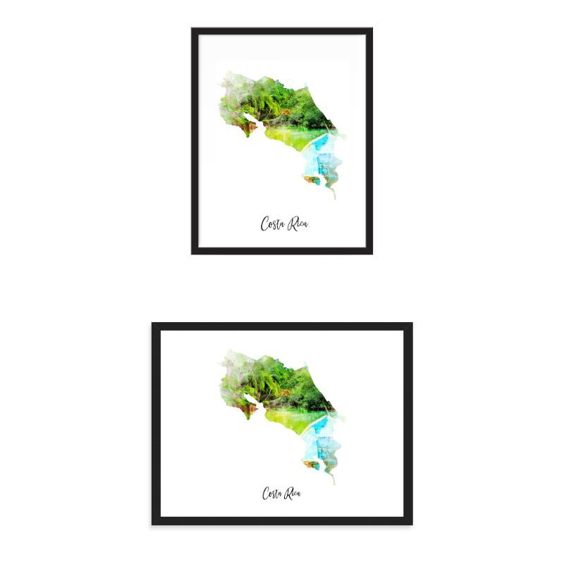 Costa Rica Watercolor Map Print - Unframed Art Print-Daily Steals