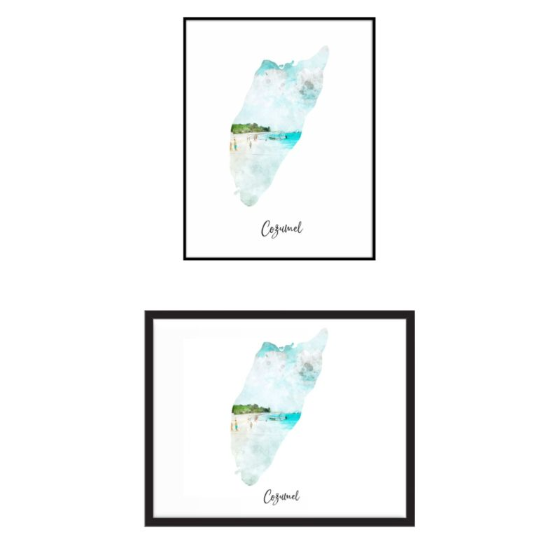Cozumel Watercolor Map Print - Unframed Art Print-Daily Steals
