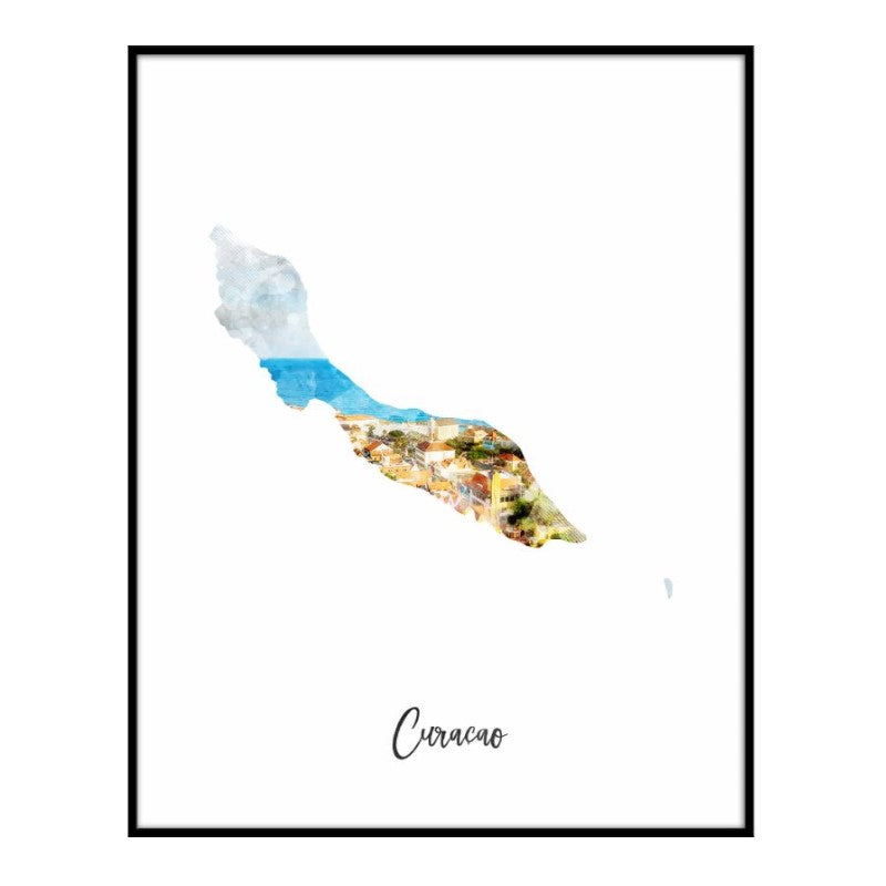 Curacao Watercolor Map Print - Unframed Art Print-Daily Steals