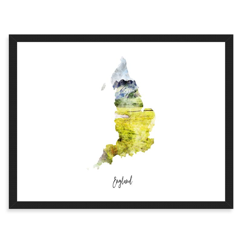 "England Watercolor Map Print - Unframed Art Print-14""x11""-Horizontal/Landscape-Daily Steals"