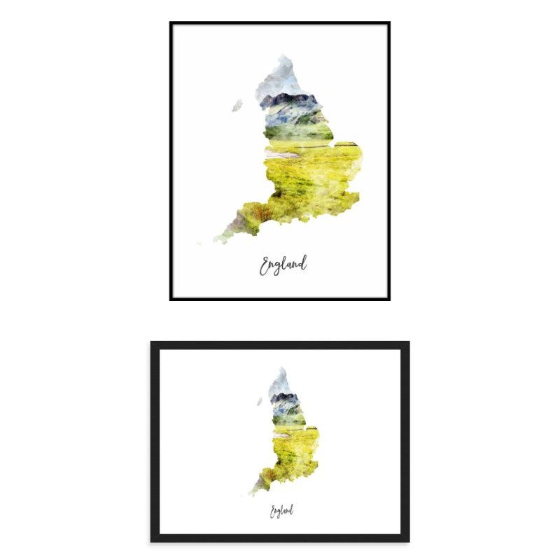 England Watercolor Map Print - Unframed Art Print-Daily Steals