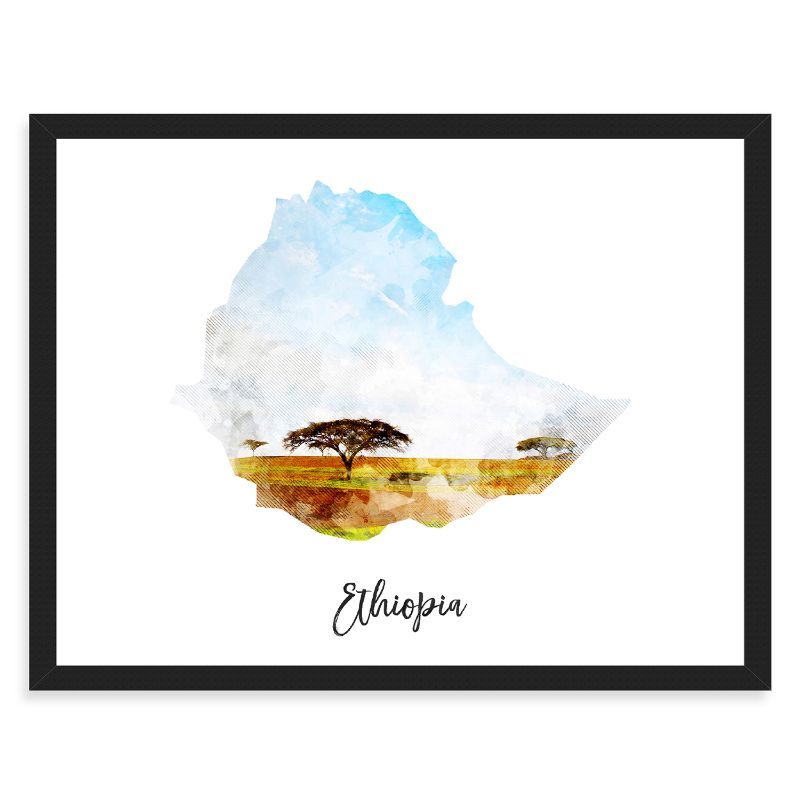 Ethiopia Watercolor Map Print - Unframed Art Print