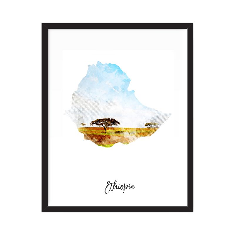 Ethiopia Watercolor Map Print - Unframed Art Print-Daily Steals