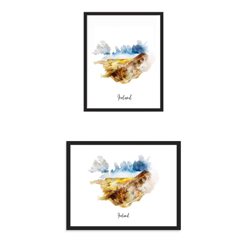 Iceland Watercolor Map Print - Unframed Art Print-Daily Steals