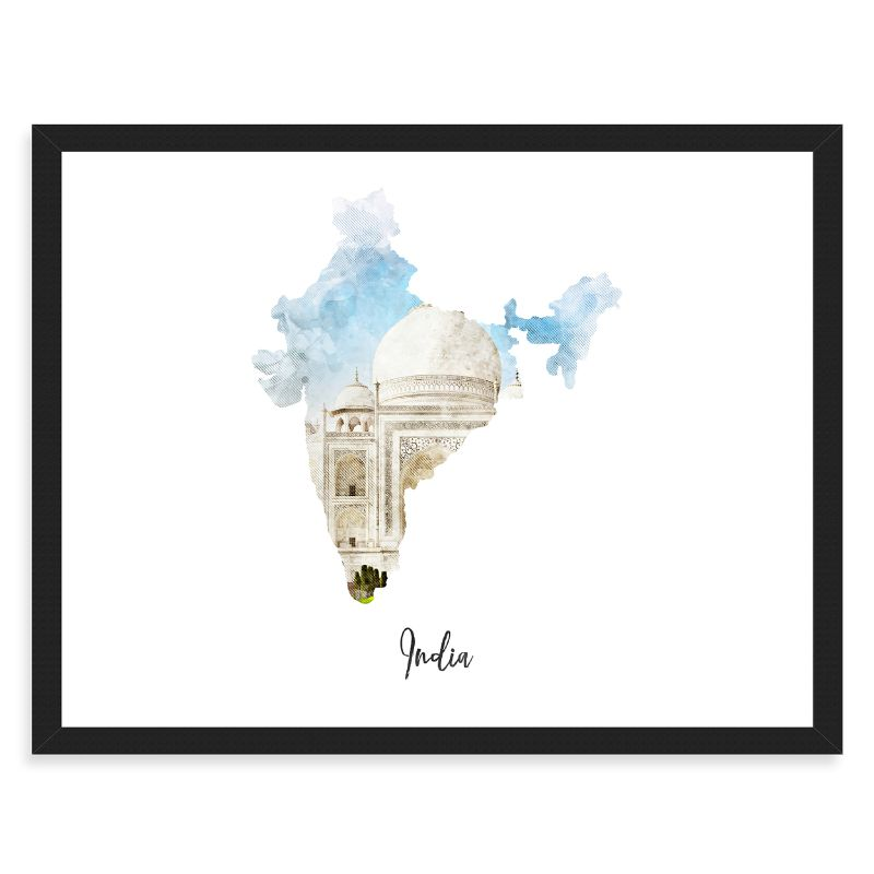 India Watercolor Map Print - Unframed Art Print