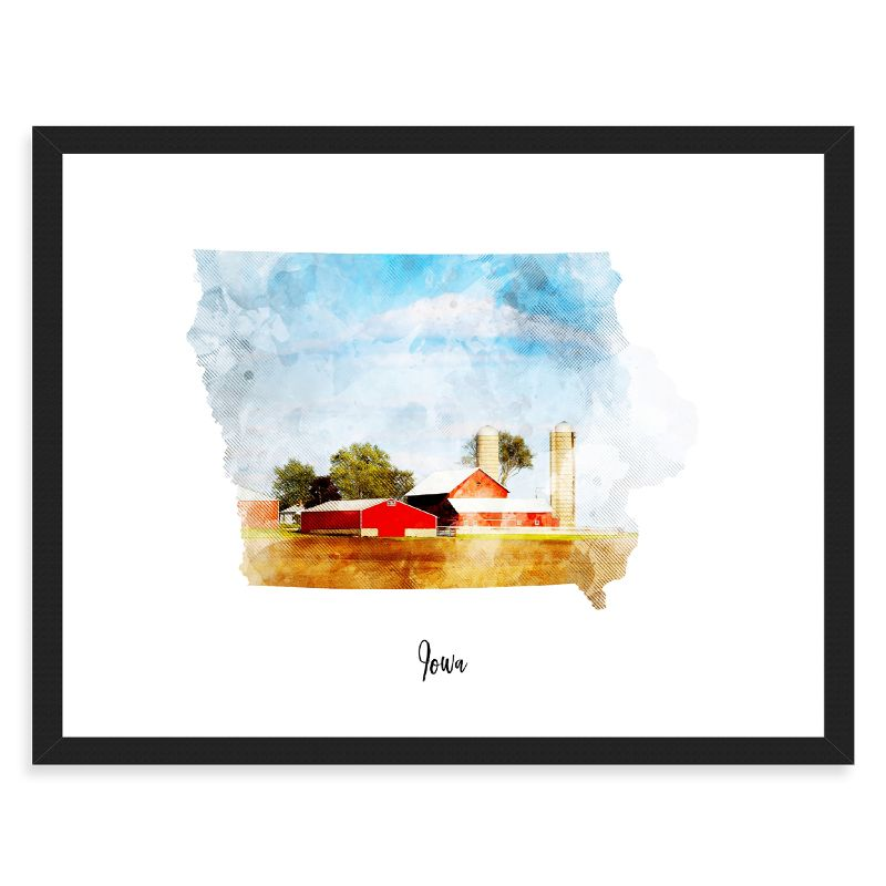 Iowa Watercolor Map Print - Unframed Art Print-Daily Steals