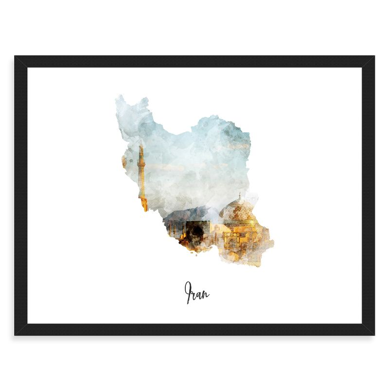 "Iran Watercolor Map Print - Unframed Art Print-18""x12""-Horizontal/Landscape-Daily Steals"