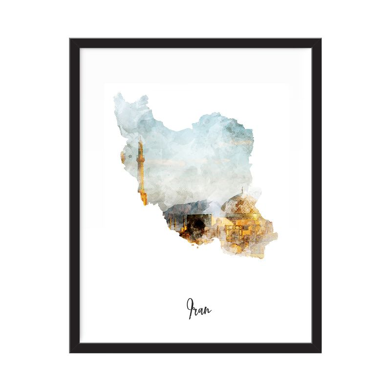 Iran Watercolor Map Print - Unframed Art Print-Daily Steals