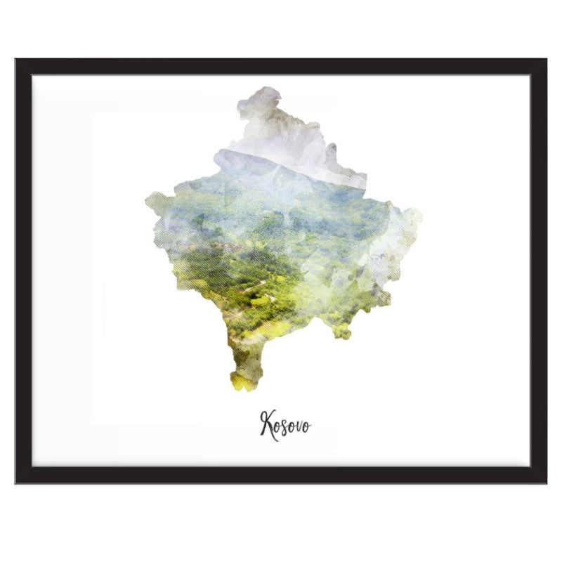 Kosovo Watercolor Map Print - Unframed Art Print-Daily Steals