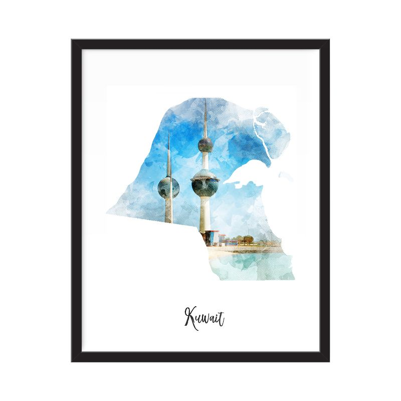 Kuwait Watercolor Map Print - Unframed Art Print-Daily Steals