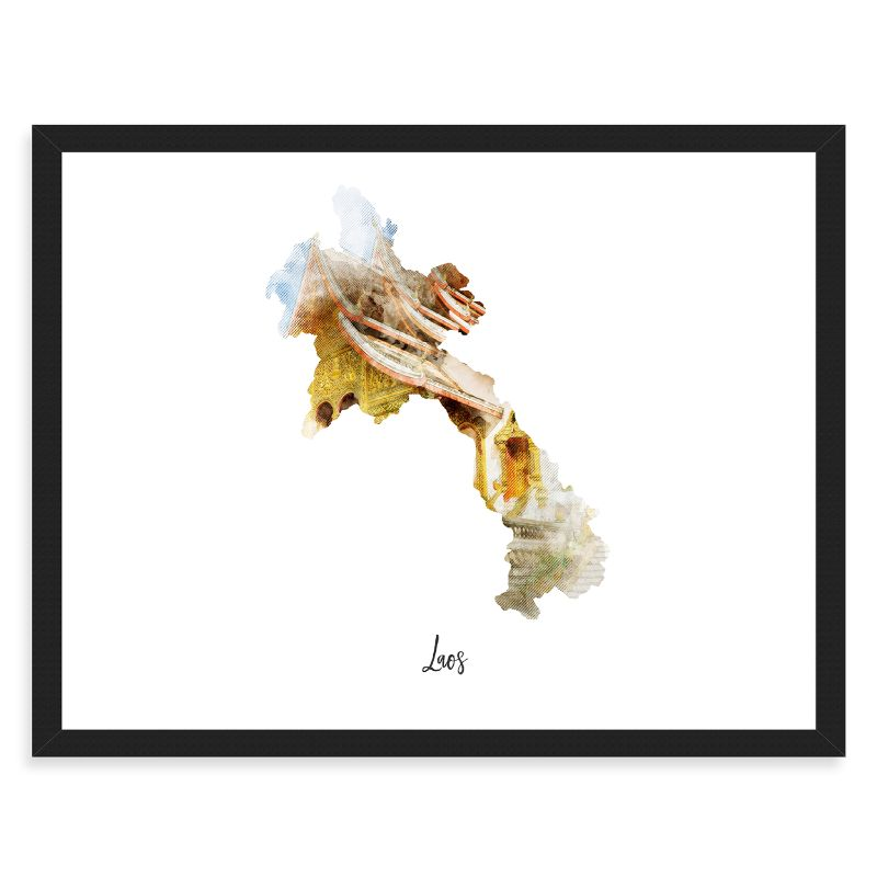 "Laos Watercolor Map Print - Unframed Art Print-14""x11""-Horizontal/Landscape-Daily Steals"