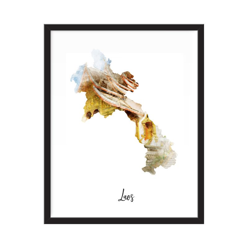 Laos Watercolor Map Print - Unframed Art Print-Daily Steals