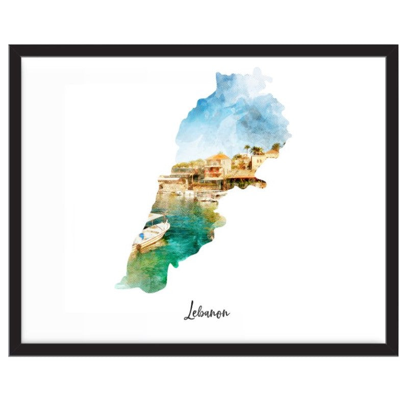 Lebanon Watercolor Map Print - Unframed Art Print-Daily Steals
