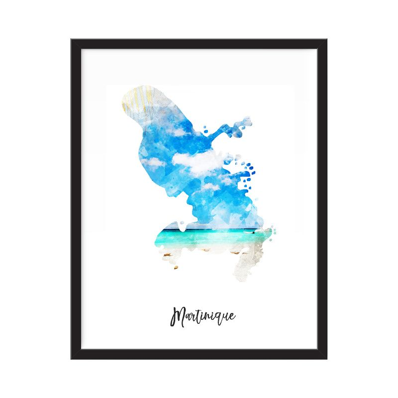 Martinique Watercolor Map Print - Unframed Art Print-Daily Steals